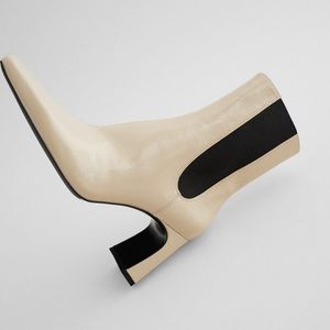 NWT ZARA Heeled Ankle Boot W Side Goring OFF WHITE